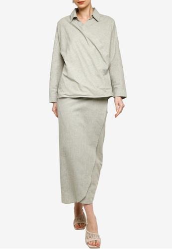 ZALIA BASICS green Collar Shirt Wrap Skirt Co-Ords Set 87375AA9C85A80GS_1