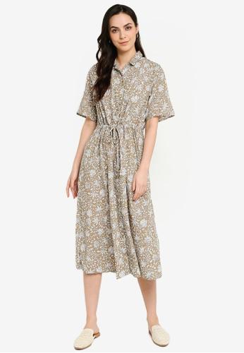 GLOBAL WORK brown Printed Shirt Dress 64658AA248ABB3GS_1