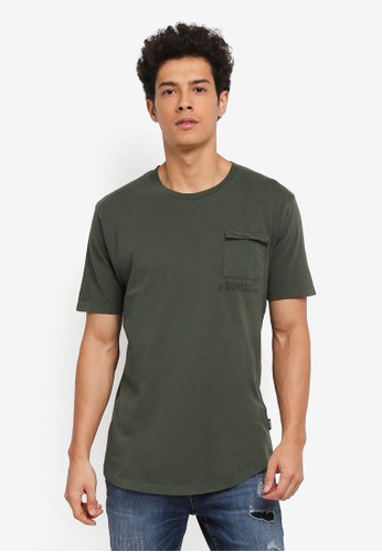Only & Sons green Steen Pocket Tee 35776AA783EC9BGS_1