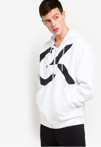 Calvin Klein 白色 LOGO印花連帽外套 42E94AA0701D5FGS_1