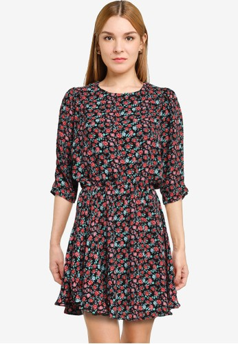 PIMKIE black Floral Trapeze Dress D6B72AAE4CB8CAGS_1