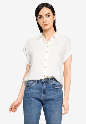 Springfield white Organic Cotton Linen Shirt CC417AAAB03027GS_1