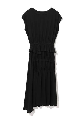 tout à coup black Ruffle trim pleated dress 0A03FAA5478C39GS_1