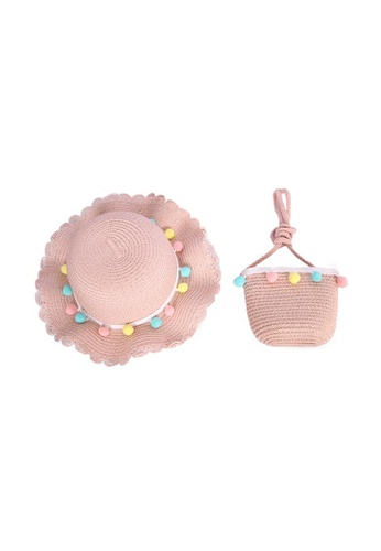 Adkidz pink Adkidz Summer beach Hat and Mini Straw Crossbody Bag 82586KCC9F3A90GS_1