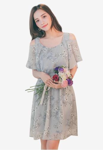 YOCO grey Cold Shoulder Floral Dress 60D74AA3747D75GS_1