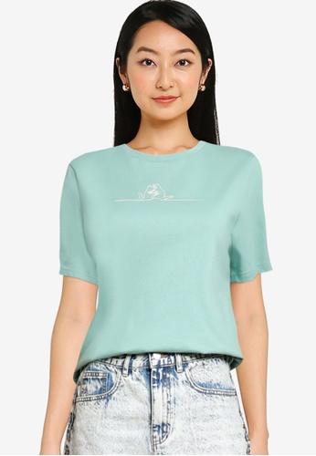URBAN REVIVO green Embroidery Line T-Shirt F6131AAC16E6DDGS_1