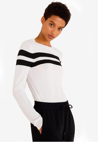 Mango beige Contrasting Stripes Sweater C3F0EAA501A8F0GS_1