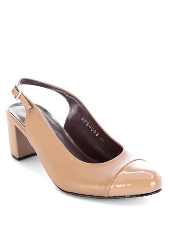 Janylin brown Slingback Blocked Heels 322FFSH0ADD9DCGS_1
