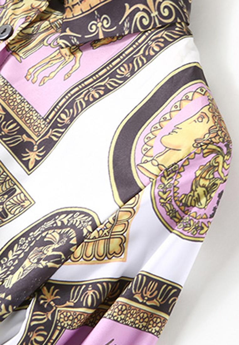 Single Long Multi NBRAND Dress Printed Breasted Sleeve Lapel UzpxwAq
