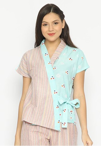 KICHI BATIK blue Kimono Blouse Jumputan Hana D0A32AAF3AE3B9GS_1