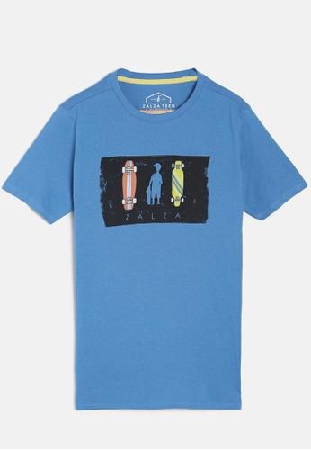 ZALZA blue Ferrari 100% Organic Cotton Knitted Boys Crew T-Shirt- Blue FE5FCKAACC64EBGS_1