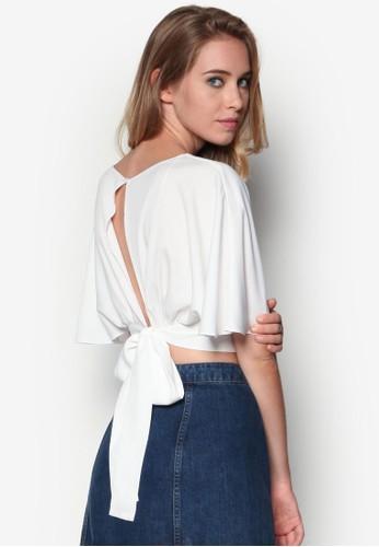 背面繫帶低胸短版上衣, 服飾, 上zalora 包包評價衣