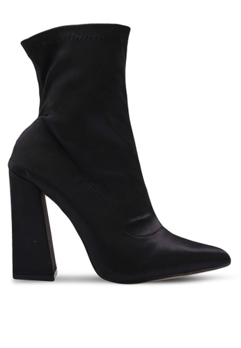 Public Desire black Adore Flared Heel Satin Ankle Boots 88FE4SH8D5DED1GS_1