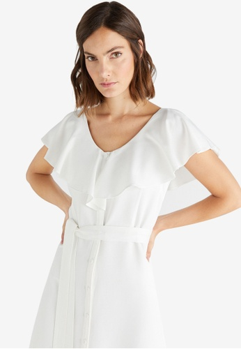 Cortefiel white Flounced Neckline Dress C11DFAAD86299BGS_1