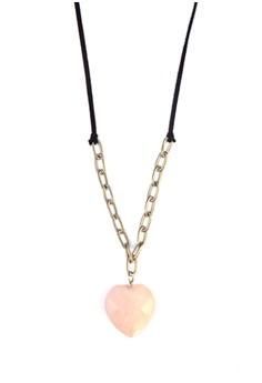 Big Heart Rose Quartz Necklace