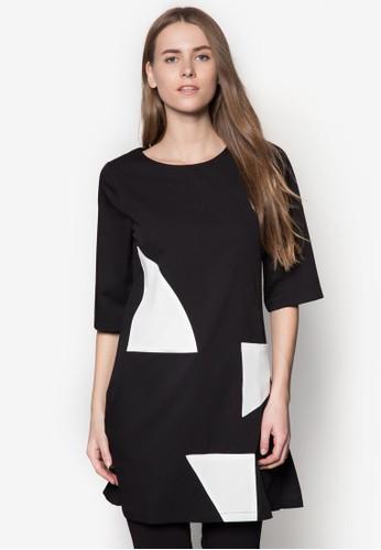 撞色拼接直筒連身裙, esprit專櫃服飾, 洋裝
