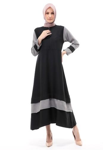 Evernoon black and grey Aurel Dress Maxi Muslimah Wanita Polos Dual Tone Color Regular Fit - Black Grey 45E3EAA620424BGS_1