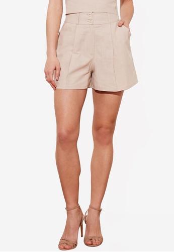 Trendyol 米褐色 Petite 雙 鈕釦 Detail 短褲 A02FFAA280A4E6GS_1
