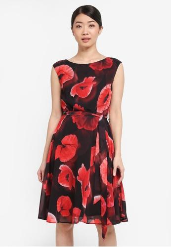 Wallis black Black Floral Print Fit And Flare Dress 4DD56AA3B8EBA1GS_1