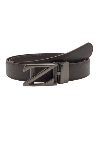 Oxhide brown Genuine Leather Belt Brown - Real Leather Ratchet Belt with Auto Lock Buckle - Track Belt - ABB2B Oxhide 97C6EACBEC3E0DGS_1
