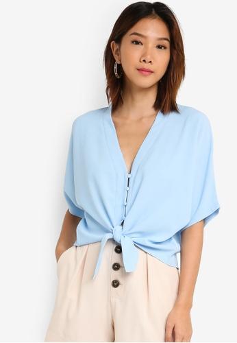 Something Borrowed 藍色 前綁帶短版上衣 1F0D6AA156641DGS_1