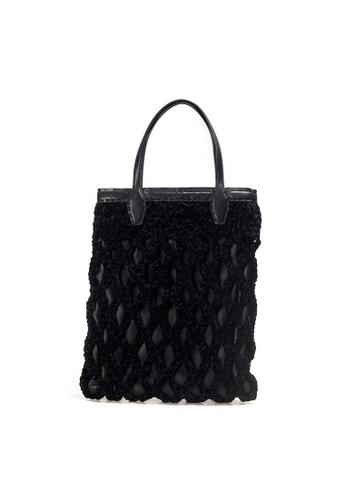 Shu Talk black FALORNI Italian Made Velvet  Leather A4 Size Tote Bag 51649AC3A09C4EGS_1