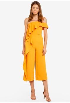 e1c247b26808 Lavish Alice orange Bardot Asymmetric Draped Culotte Jumpsuit  F00E1AACB68F86GS 1