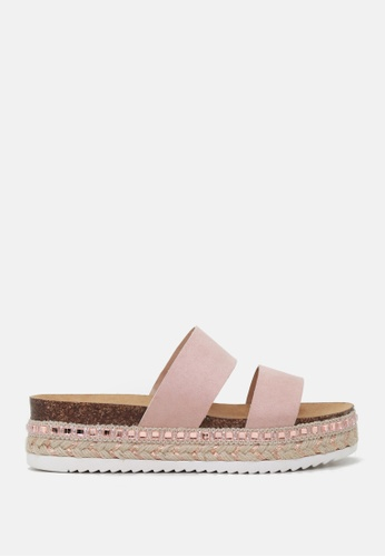 London Rag pink Double Strap Flatform Wedges A1C99SHEBDA5D6GS_1