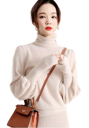 Sunnydaysweety beige Balloon Sleeves High Collar Jumper CA112815BE 6AF1FAA6231C15GS_1