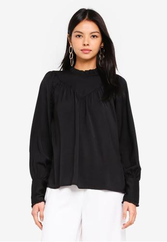 Vero Moda black Mona Long Sleeve Top A9966AABB879E6GS_1