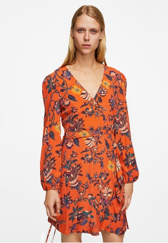 Mango orange Floral Wrap Dress MA193AA0RSC6MY_1