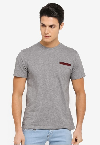 ZALORA grey Cotton Crew Neck Pocket Short Sleeve Tee 1F593AA28AA77BGS_1