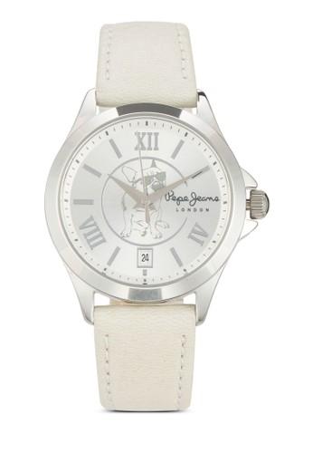 R2351114503 Kesprit門市地址aty 哈巴狗圖案皮革圓錶, 錶類, 飾品配件