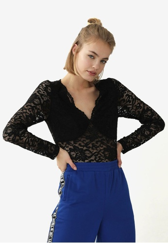 PIMKIE black Scalloped V Neck Lace Top 68DC4AA57ED9EFGS_1