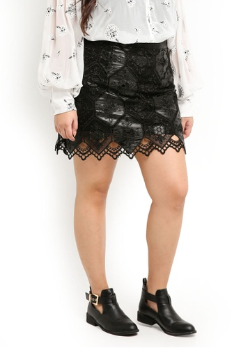 new high preview of elegant appearance Plus Size The Calla Honeycomb Pu + Lace A-Line Mini Skirt