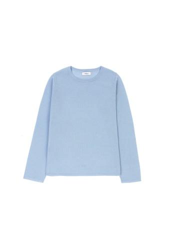 KLAPS blue Merino Round Neck Sweater 05AB0AADD6C73EGS_1