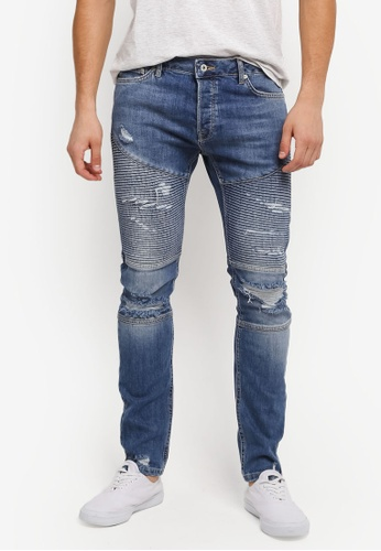 Topman blue Light Wash Skinny Zip Biker Jeans TO413AA0SLXXMY_1