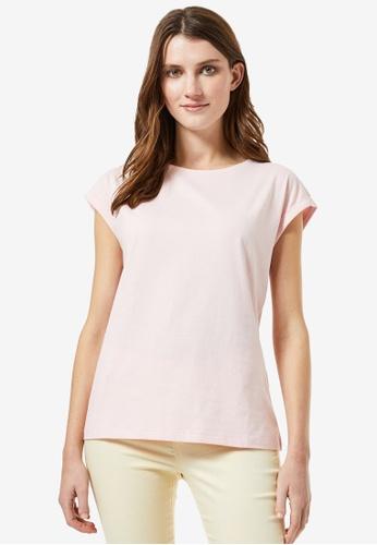 Dorothy Perkins pink Blush Roll Sleeve T-shirt 7090DAAA75DA94GS_1