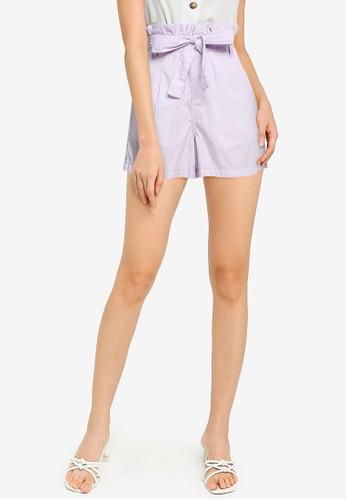 ZALORA BASICS purple Plain Paperbag Shorts 38CD1AAF8EEB3BGS_1