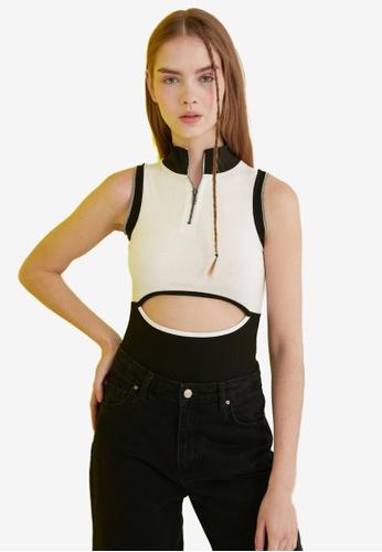 Trendyol white Ribbed Zipper Cut Out Bodysuit 2665BAA1295C24GS_1