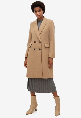 Mango beige Double-Button Wool Coat AFACEAA9101E4DGS_1