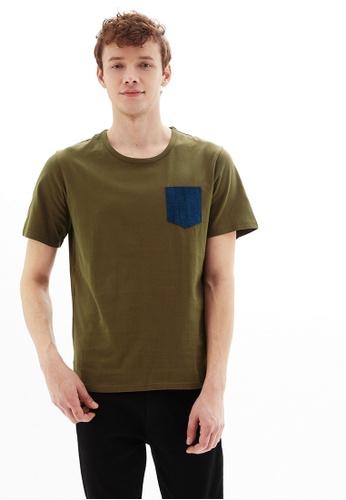 Life8 green Casual Pocket U-Neck Short-Sleeved Tee -10079-Green 29B0EAAB3E0377GS_1