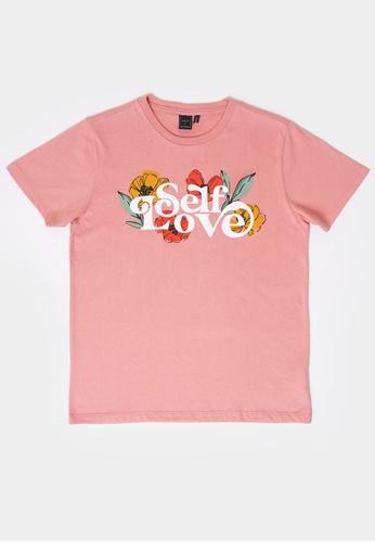 Penshoppe pink Women's Love, Me Relaxed Tee D2E65AA178505BGS_1
