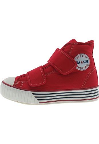 Maxstar 紅色 新款韩国鞋C30-2Band時尚帆布布混合女紅色 US Women Size MA345SH46HCZTW_1