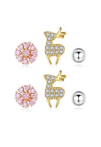 SUNRAIS High quality Silver S925 rose gold snowflake earrings 6BA94AC6054DB4GS_1