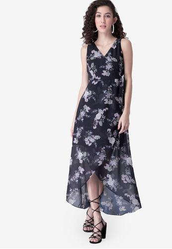 FabAlley blue High Low Wrap Dress B2BEBAAC5DF9CCGS_1