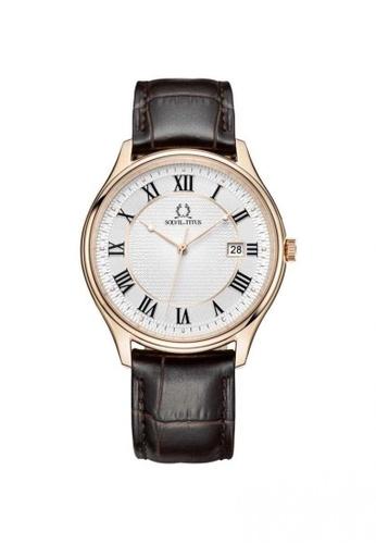 Solvil et Titus brown Classicist Men's 3 Hands Quartz Watch in Silver White Dial and Brown Leather Strap 9EB76AC1D77FD0GS_1