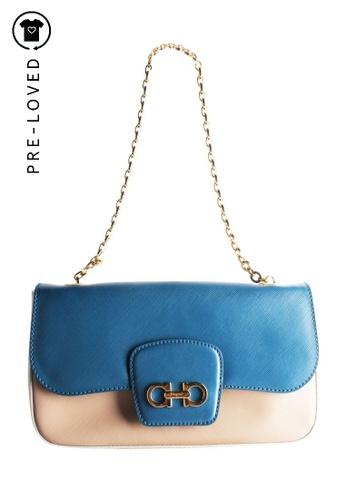 Salvatore Ferragamo blue Pre-Loved salvatore ferragamo Blue and Cream Gancini Flap Bag 4B7A5ACA5E5E61GS_1