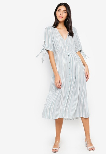 ZALORA green and multi Tie Sleeves Dress 946C2AA100BBCAGS_1