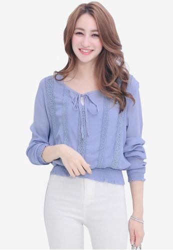 Yoco blue Panelled Lace Long Sleeve Blouse 369EDAA63DEA83GS_1